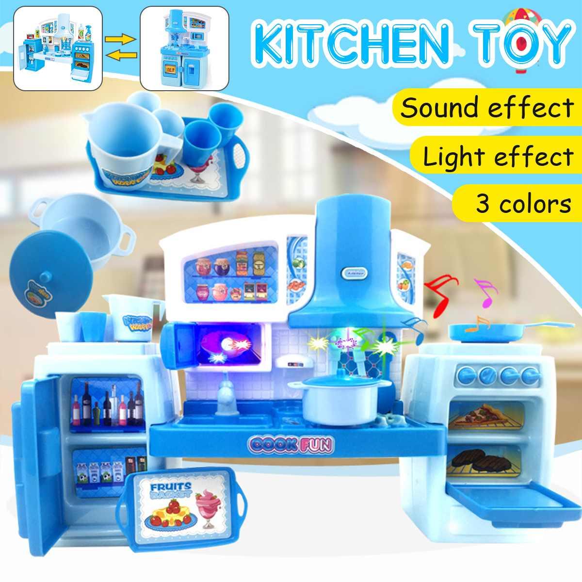 Funny Kids Kitchen Toy Simulation Kitchen Toy Light/Music Effect Dinnerware Pretend Play Kitchen Cooking Table Set Children Gift