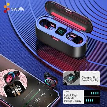 Auriculares estéreo inalámbricos Swalle TWS para juegos, auriculares para Airpods, Auriculares Bluetooth con cargador, el mejor regalo