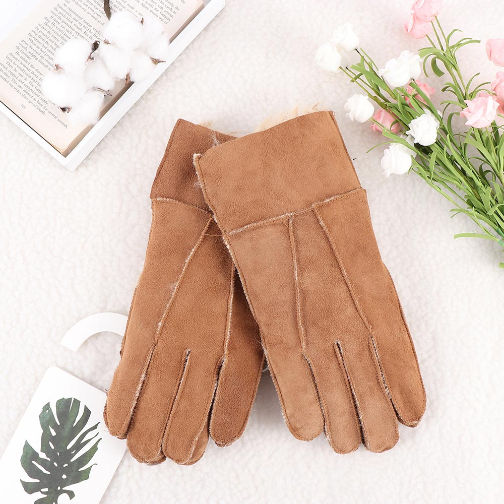 Hot 1 Pair Cool Men's Gloves Winter Genuine Brown Sheepskin Leather Shearling Fur Warm Gloves High Quality