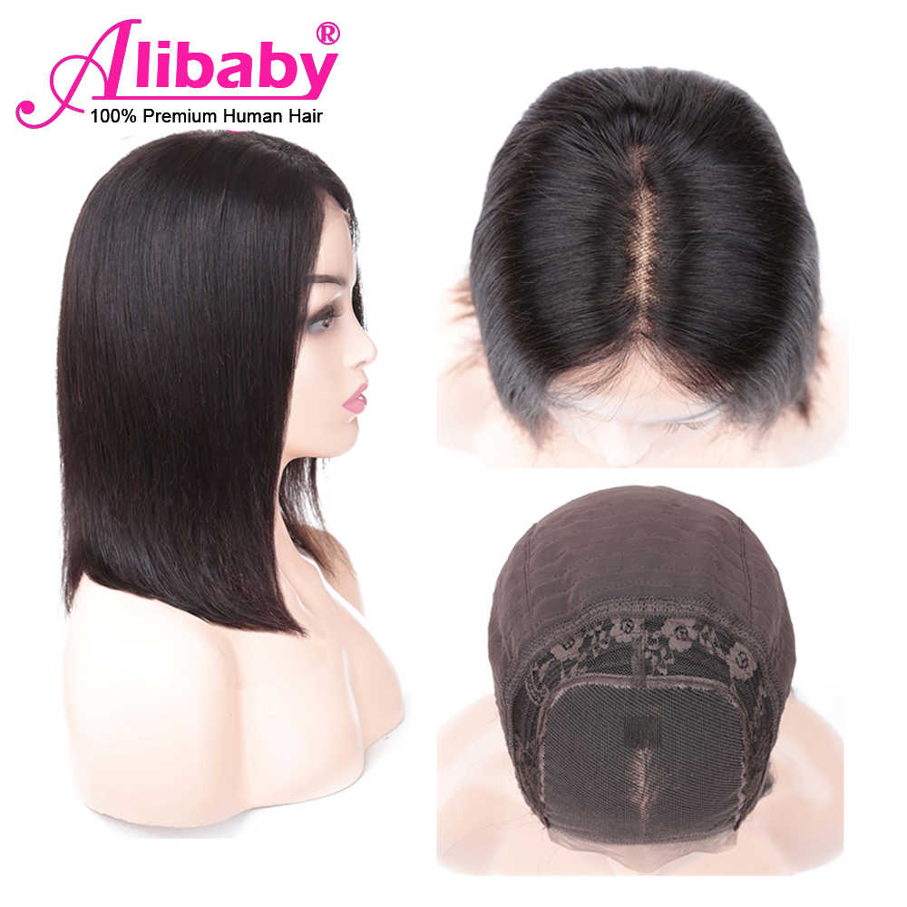Alibaby Malaysian Wig Straight Human Hair Wigs Remy 4x4 Lace Closure Wig Natural Color Bob Lace Front Human Hair Wigs 8-16 Inch