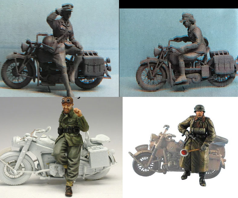 NO motorcycle High Quality Resin Kit 2 Figures 1:35 WWII Kit German Driver