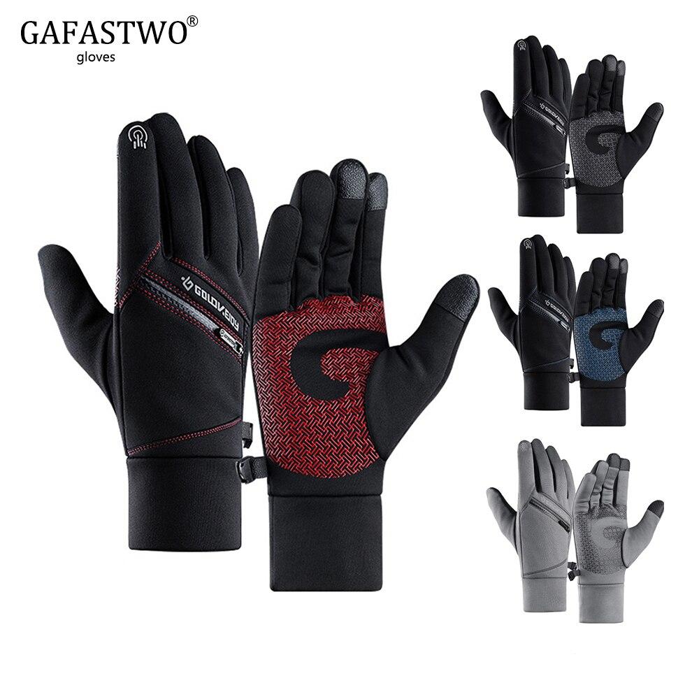 Warm Mens Winter Ski Gloves Women Fashion No-Slip Touch Screen Riding Waterproof Outdoor Sports Zipper Pocket Ladies Gloves
