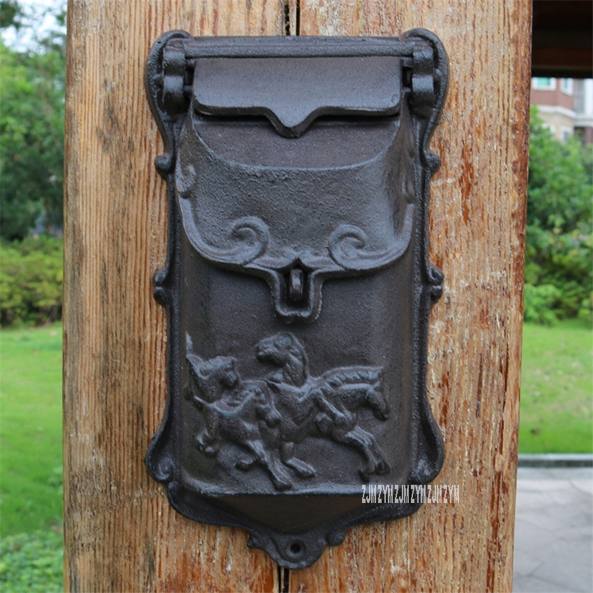1892 Lron Handicraft Lockable Mailbox Retro Mailbox Retro Wall Newspaper Letter Post Box Outdoor Decoration Secure Letterbox