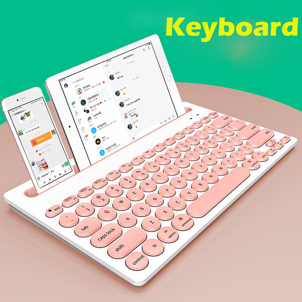 Portable Desk Mini keyboard with Cell Phone Stand Holder for iphone Android Tablet PC Pink keyboard for iPad Series iOS System