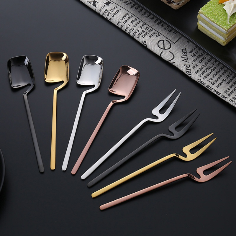 European Coffee Spoon Simple Style Dessert Fork Long Handle Flatware Coffee Drinking Tools Kitchen Gadget