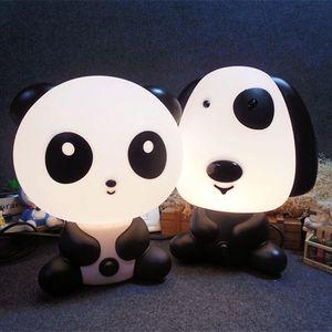 Image 1 - 만화 동물 야간 조명 귀여운 곰 팬더 개 테이블 책상 램프 키즈 아기 잠자는 램프 침실 머리맡의 휴일 선물