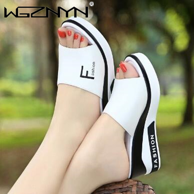 Summer Outdoor Women's Wedges Slippers Slip-On Shoes Woman Flat Peep Toe Breathable Soft Platform Leather Sandals Platform Shoes