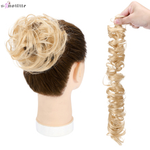 S-noilite 32g 100% Real Human Hair Curly Donut Chignon Ring Elastic Band Bun Hairpiece For Women Natural Hair Non-Remy Extension