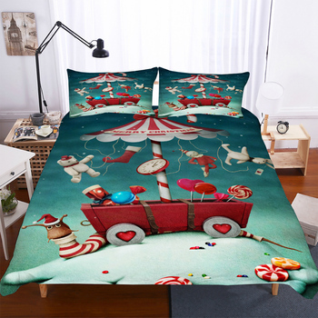 BEST.WENSD Wholesale Cartoon Bed Duver Set +pillow Cover California King Bedding Sets Usa Double Bed Size Merry Christmas Bed