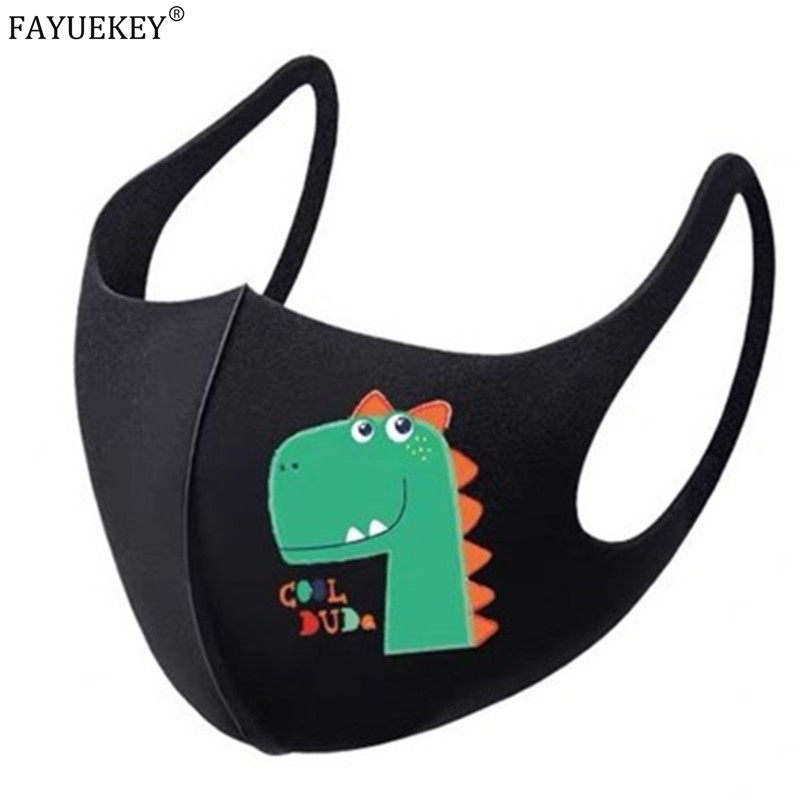 Washable Anti-Dust Cartoon Masks Black Cycling Mouth Face Respirator Mask For Children Deodorate Kids Boys Girls Outdoor Travel