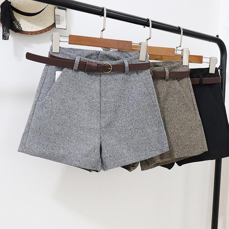 Women's Woolen Shorts Slim Casual Bottom Shorts High Waist Belt Slim Wide Leg A-line Shorts Comfortable Elegant With Belt