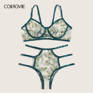 Image 2 - COLROVIE สีเขียวดอกไม้ปัก SHEER ชุดชั้นในชุดผู้หญิง Underwire ชุดชั้นในสตรี 2019 ตัด OUT Bra และ Thongs สุภาพสตรีเซ็กซี่ชุด