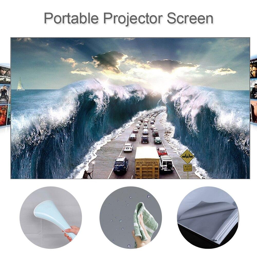 80 100 120 inç HD projeksiyon perdesi 169 çerçevesiz Video projeksiyon ekranı katlanabilir duvara monte ev ofis için gri ekran