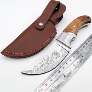 """Image 2 - Couteau de chasse tactique 8 """", manche en bois en 440, couteaux de poche de survie, pour le Camping, couteau droit, pour le sauvetage en plein air, outils EDC"""