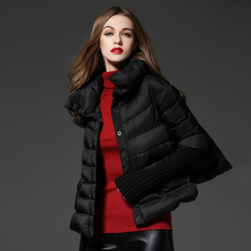 90% duck   down     coat   fashion brand cloak style knit stitching sleeve   down   jacket female winter great quality warm   down     coat