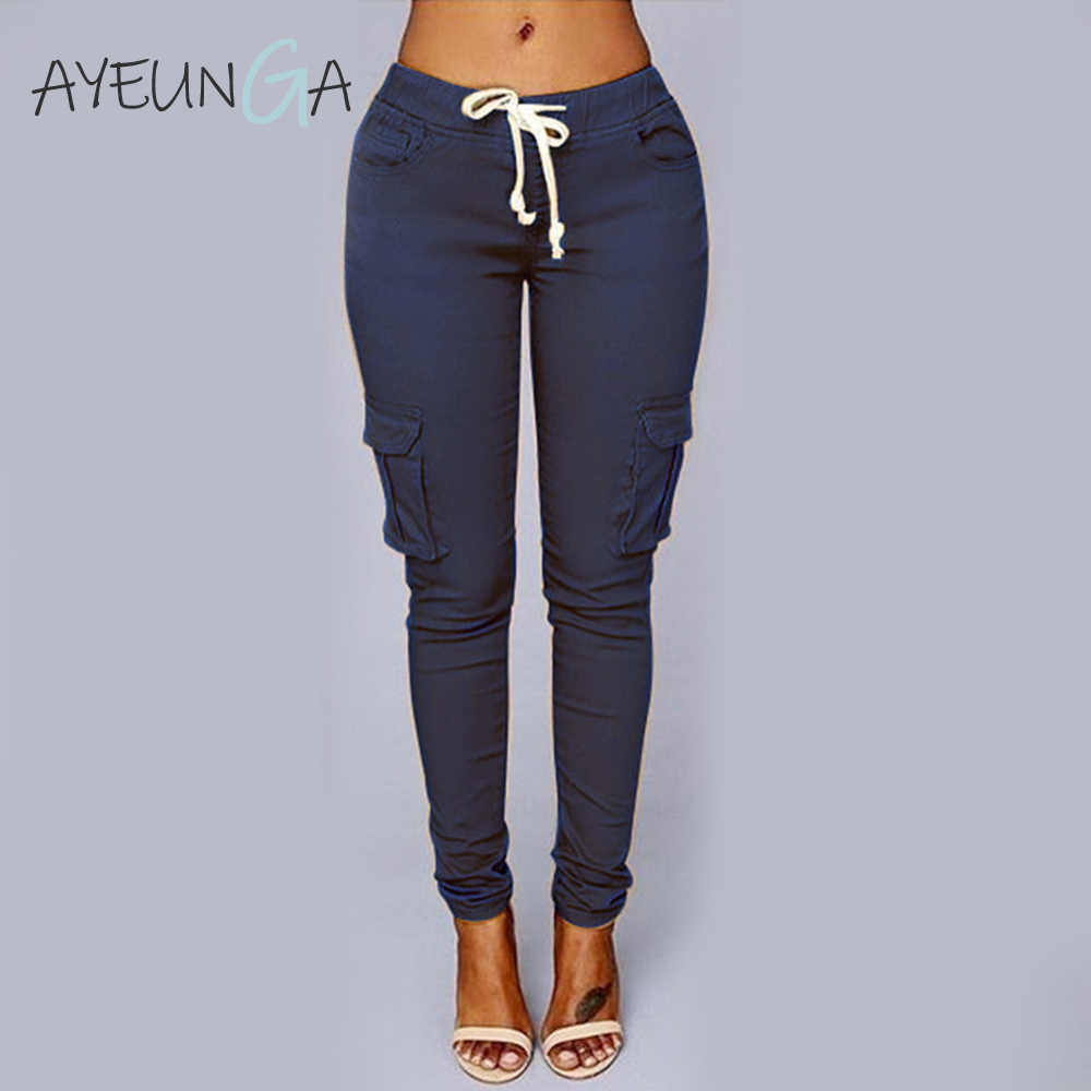 High Waist Women's Trousers Casual Black Long Streetwear Pantalones De Mujer Pockets Sashes Office Ladies Sweatpants For Women