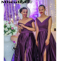 Mbcullyd Purple Bridesmaid Dresses Long 2020 Sexy Off Shoulder Robe Demoiselle D'honneur Formal African Wedding Guest Dress
