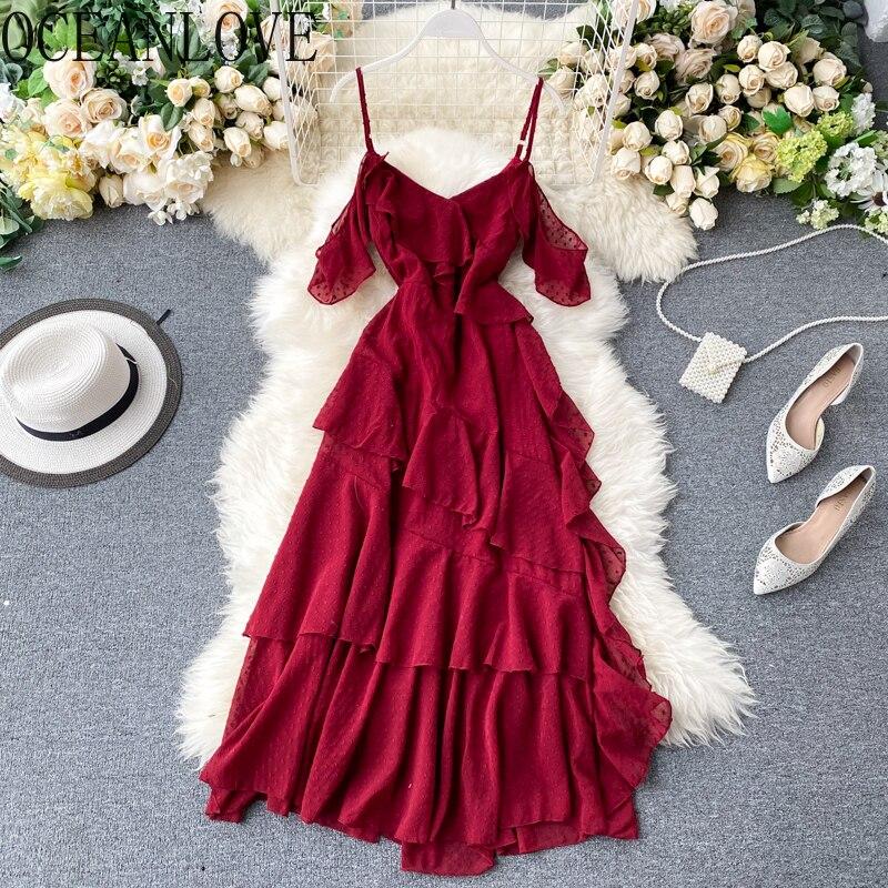 Женское шифоновое платье с оборками OCEANLOVE, Пляжное Платье с v-образным вырезом, элегантные летние платья 2020, сексуальное 15550