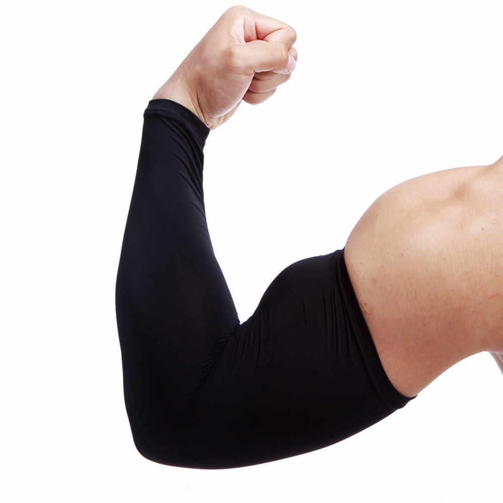 1 Pza hombres Mangas protección solar brazo refrigeración manga calentadores puños protección UV clásico sólido hombres Mangas talla grande guantes 2019