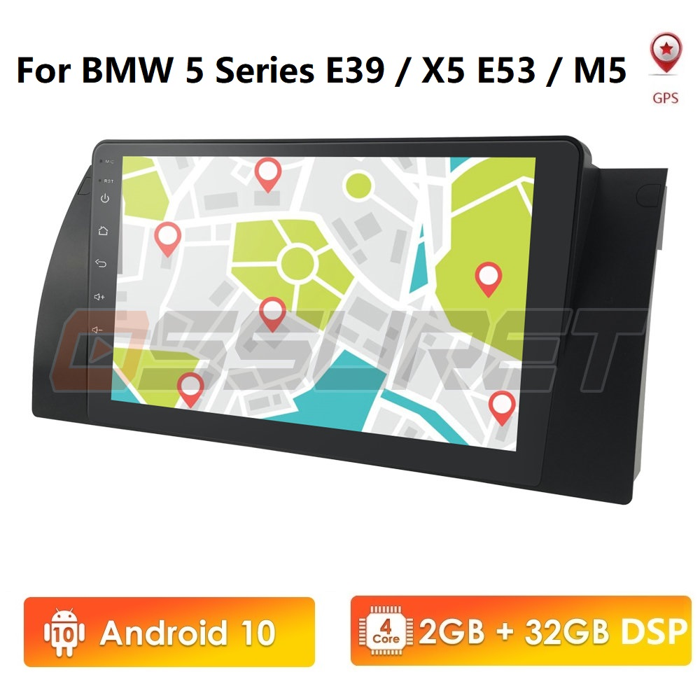 1din Android 10.0 For BMW E39 E53 X5 E38 Wifi 4G Bluetooth DVR RDS USB Sterring wheel control with Maps Quad Core image