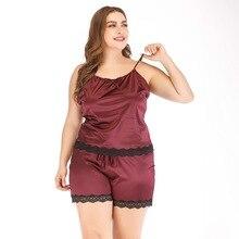 цена на Summer Large Size Lace 2 Piece Pajama Set Women Burgundy Plus Size Sexy Sleepwear Cute Satin Cami Shorts Ladies Nightwear Pj Set