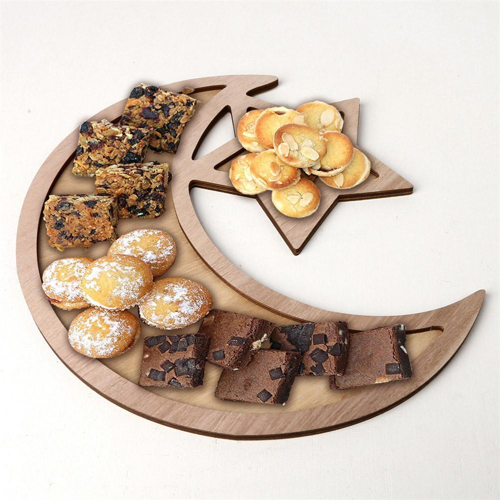 Muslim Islam Eid Mubarak Hanging Pendant DIY Castle Moon Wooden Tray Ramadan Activities Party Decoration Food Storage Container
