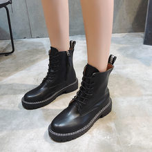 Женские кожаные ковбойские ботинки в стиле панк черные ботильоны