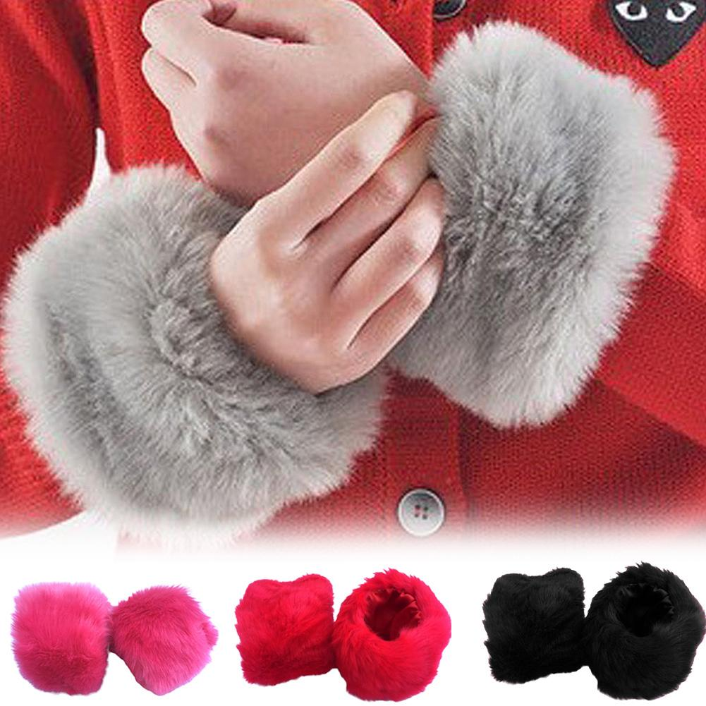 One Pair Faux Fur Plush Windproof Cuffs Wristband Winter Arm Warmer Women Thick Wrist Arms Gloves Female Elastic Oversleeve 2Pcs