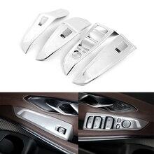JEAZEA 4Pcs Silver Plastic Car Door Armrest Panel Handle Holder Window Lift Switch Button Cover Trim Fit For BMW 3 Series 2020