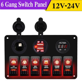 12V / 24V 4 5 6 8 Gang LED Toggle Rocker Switch Panel With Dual USB Waterproof For Car RV Truck Boat Marine Rocker Switch Panel maintenance switch for automatic gas extinguisher panel work with fire fighting panel