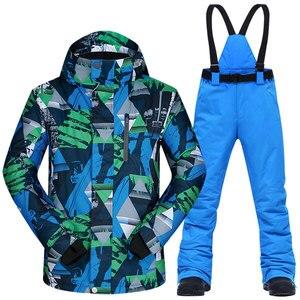 Image 4 - Ski Anzug Männer Winter Thermische Wasserdicht Winddicht Kleidung Schnee Hosen und Ski Jacke Männer Set Skifahren und Snowboarden Anzüge Marken