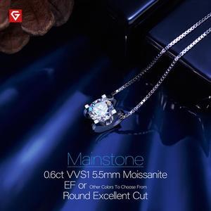 Image 3 - GIGAJEWE collar de moissanita plata de primera ley para mujer, collar redondo, plata esterlina 5,5, oro blanco de 18 quilates, 18K, 925mm, Diamante de prueba, regalo para niña y mujer