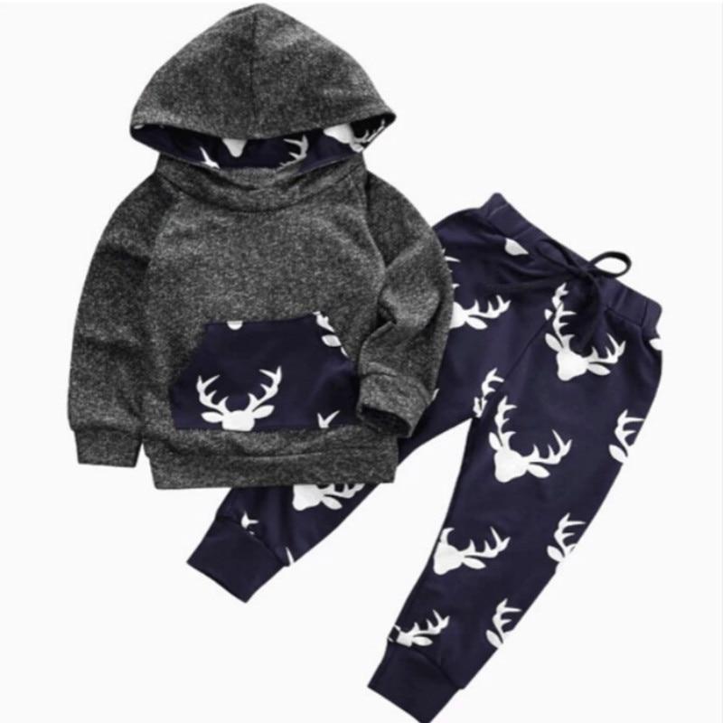 Baby Boy Kleidung Set Herbst Winter Neugeborenen Warme Outfits Deer Tops Hoodie Top Hosen Baby Jungen Mädchen Weihnachten Kleidung