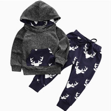 Baby Boy Clothing Set Autumn Winter Newborn Infant Warm Outfits Deer Tops Hoodie Top Pants Baby Boys Girls Christmas Clothes baby coral fleece long pants newborn warm clothes autumn and winter boys and girls trousers