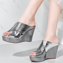 Punk Creepers Women Silver Genuine Leather Wedges High Heel Gladiator Roman Sandals Female Open Toe Platform Party Pumps Shoes aiykazysdl gladiator roman sandals metallic faux leather strappy creepers ultra very high heel platform shoes square thick heels