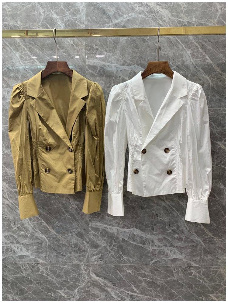 Femmes filles sexy culture hauts et blouse à manches longues double boutonnage col cranté couleur unie blanc coton chemises nouveau 2019