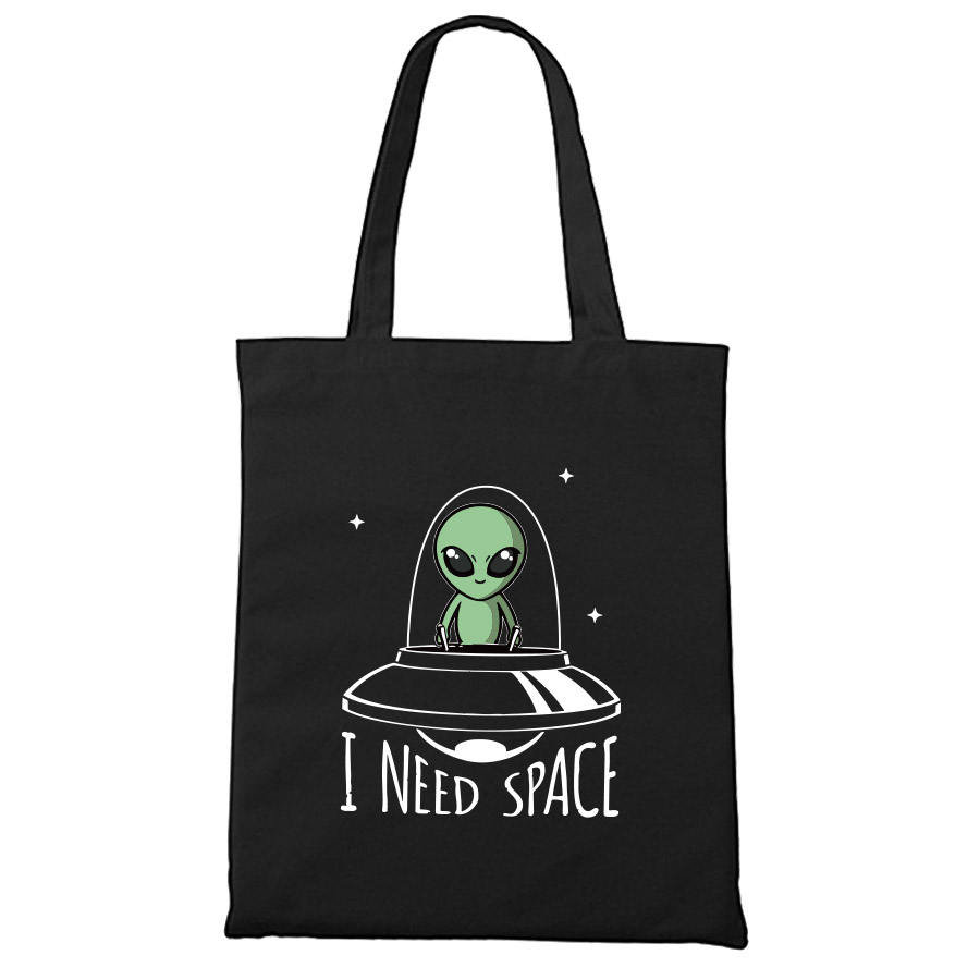 Cute Alien Canvas Shopping Bags Black One Shoulder Storage Personality UFO Hand Tote Bag Unisex