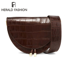 Herald Fashion Women Handbags Vintage Crocodile Semicircle Saddle Bags PU Leather Shoulder Bags For Female Crossbody Bag  Design