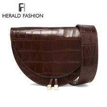 Herald модные женские сумки, винтажные крокодиловые полукруглые седловые сумки, сумки на плечо из искусственной кожи для женщин, дизайнерская сумка через плечо