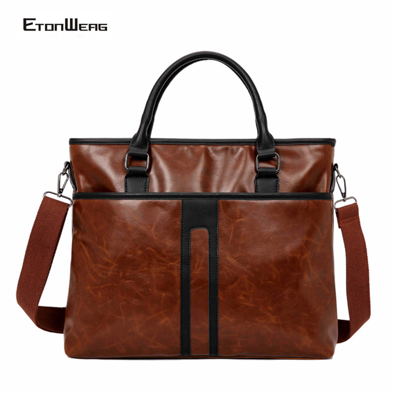 Men Vintage Briefcase Waterproof PU Leather Handbag Business Office Laptop Bag Large Casual Messenger Bags Male Large Brown Tote