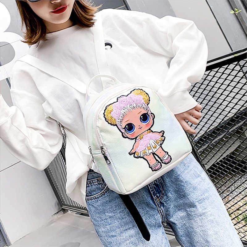 Рюкзак LOL Surprise Dolls для девочек-подростков, модный дорожный рюкзак из искусственной кожи с принтом, милый водонепроницаемый рюкзак с блестками, 2019