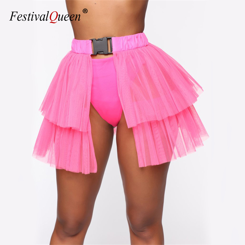 Neon Mesh <font><b>Transparent</b></font> Buckle <font><b>Skirts</b></font> Pleated Tulle Loose Patchwork Harajuku <font><b>Sexy</b></font> Women Night Club <font><b>Mini</b></font> Chic <font><b>Skirt</b></font> 4 Colors 2019 image