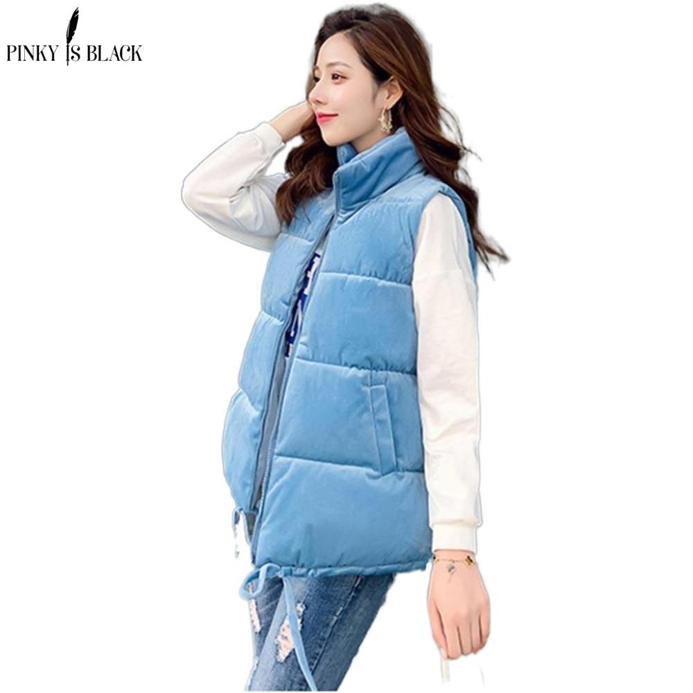 PinkyIsBlack Winter Vest Women Waistcoat 2020 Female Sleeveless Jacket Stand Collar Warm Velvet Vest Outwear Colete Feminino