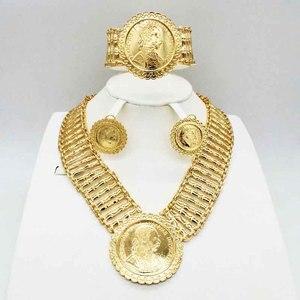 Модный стиль, африканские бусы, свадебный ювелирный набор, Дубай, золотой цвет, Нигерия, классический циркон, ожерелье, женский браслет, серь...