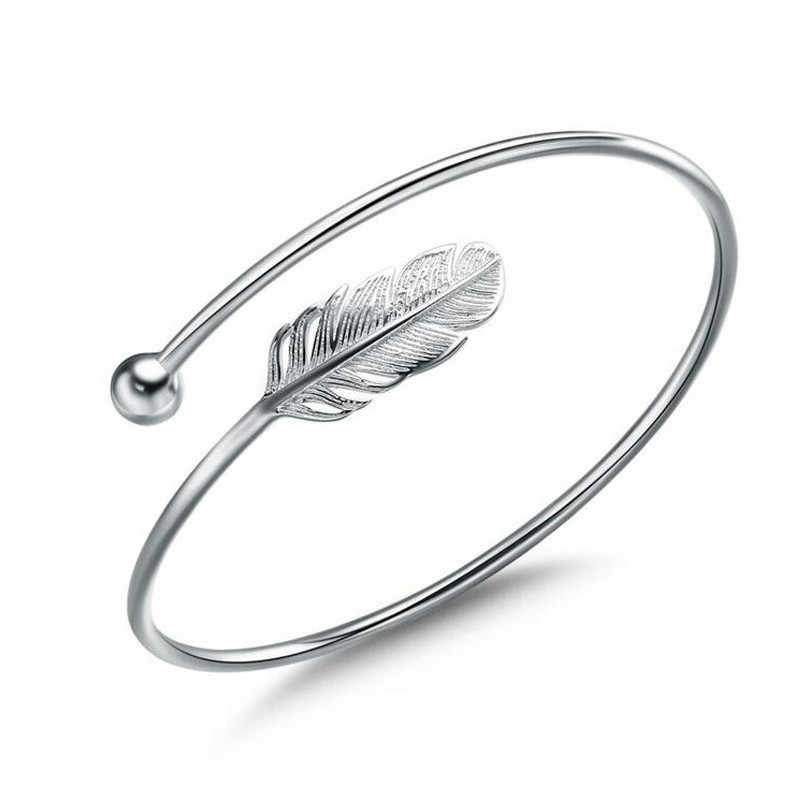 Ladies Fashion 925 anillos Silver Bangle Bracelet Chic Silver Feather Simple Angel Bangle Ladies Stylish Bracelet 999 Silver