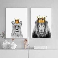 Холщовый постер с короной и львом настенная живопись принтом