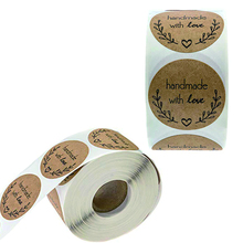 500PCS Olive Branch Handmade with Love Stickers Labels DIY Christmas Decorations Birthday Party Packing Paper Bag Round Tags 1in merry christmas reindeer olive branch print round beach throw