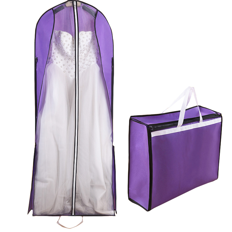 Dual-use Long 150cm Bridal Wedding Dress Robe Dust Cover Travel Coat Suitcase Storage Bag Wardrobe Accessories FG004
