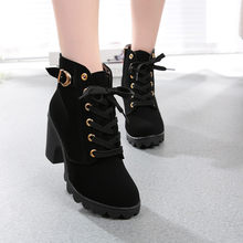 2019 herbst Stiefel Frauen Mode High Heel Lace Up Ankle Stiefel Damen Schnalle Plattform Schuhe Winter Boot Frauen Leder Solide stiefel(China)