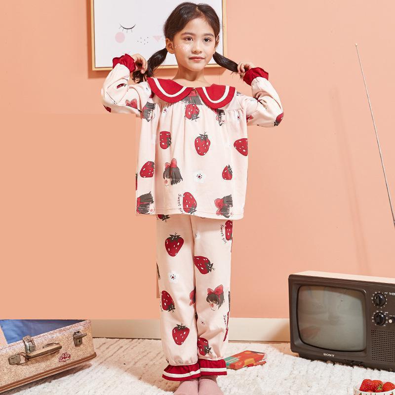 Children's Cute Pajamas Spring New Girl's Long Sleeve Cotton Children Korean Girl's Princess Cotton Pijams Girls Family Pajama